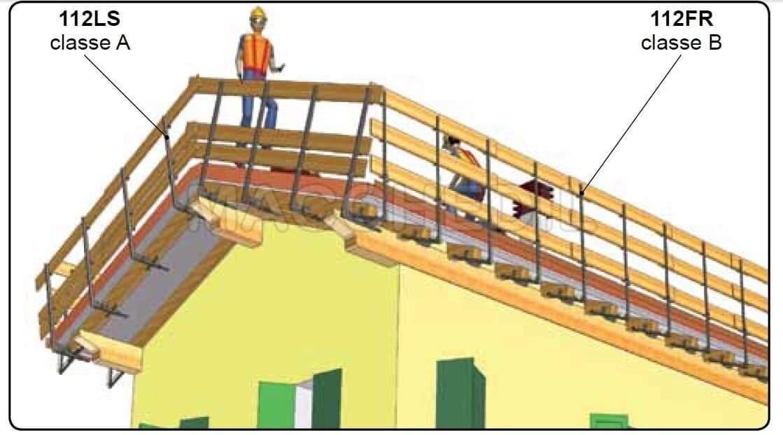Parapetto provvisorio laterale per tetti in legno (laterale)