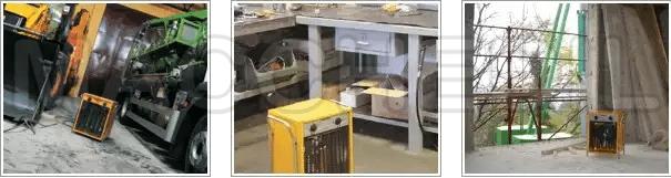 Generatore di aria calda elettrico master in funzione