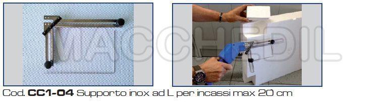 Supporto inox ad L per incassi max 20 cm